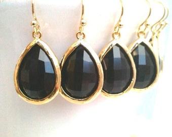 Black Earrings, Black Onyx drop Earrings, Bridesmaid Gift Wedding Earrings Bridal Jewelry , Danlge Earrings, Earrings, Gift