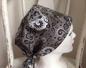 Scrub Hat Tie Back Pixie Style Grey with Black and White Print, silver sparkles
