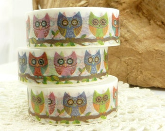 Rainbow Abstract Owl Washi Tape - HH1800