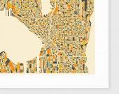 SEATTLE Map, Giclee Fine Art Print, Modern Wall Art for the Home Decor