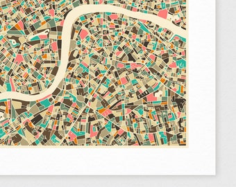 LONDON City Map, Giclee Fine Art Print, Modern Wall Art for the Home Decor by Jazzberry Blue