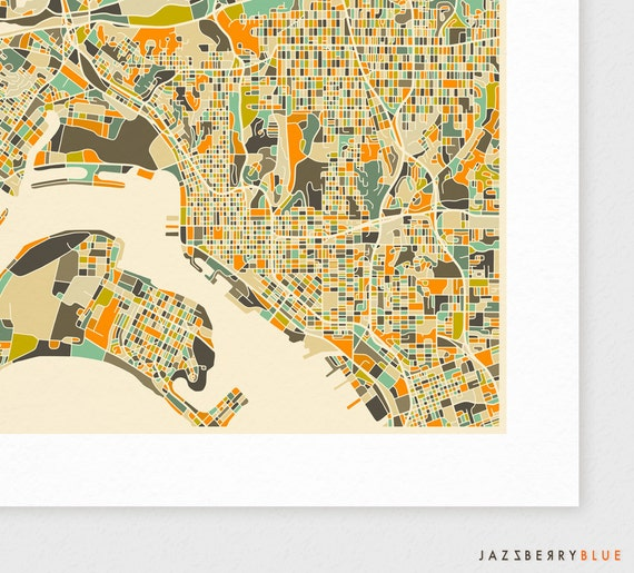 San Diego Map Giclee Fine Art Print Modern Wall Art For