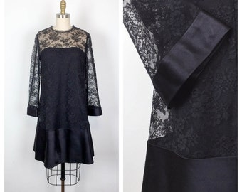 60s Malcolm Starr Black Lace Tent Dress • 1960s A line Trapeze Dress • Long Sleeve Mod Babydoll Dress • Satin Trimmed Shift Dress • Medium