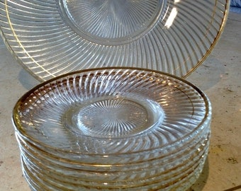 Vintage gold rimmed set of 9 plates