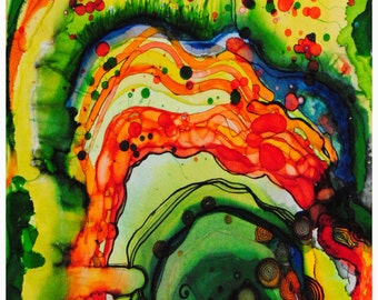 P87 - Green, Yellow, Orange Drippy Abstract Art Postcard