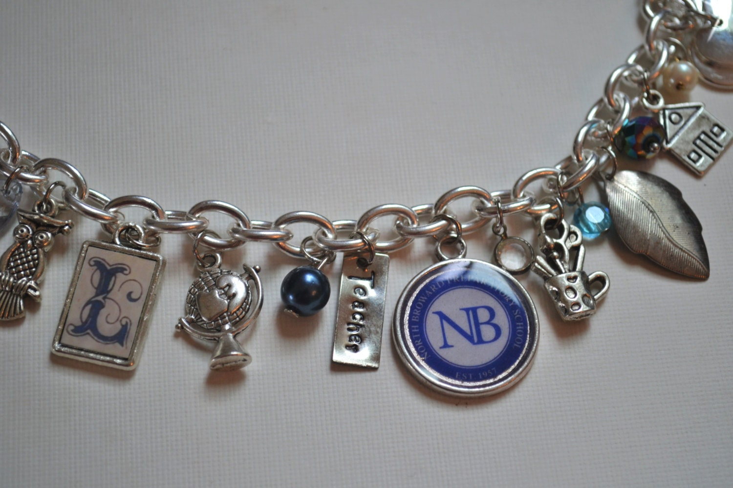 retirement bracelet school principal gift with initial