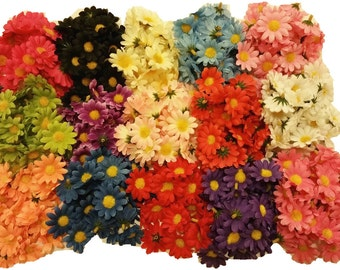 "30pcs.~Mini Daisy Flower Heads-1.5""-use for crafts, scrapbooking, hair clips, etc."