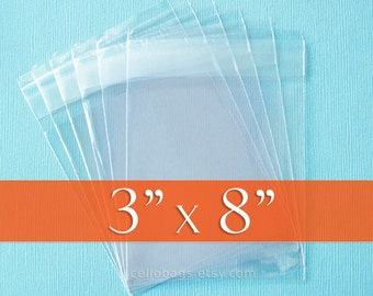100 Size 3x8 Inch Resealable Cello Bags, Clear Packaging