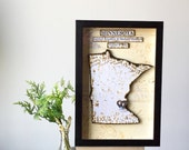 Minessota Map - Anniversary Present - Hometown Map - State Map and Heart - Wedding Gift - Personalized Decor - ShadowBox