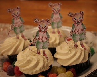 Mouse cup cake topper, mouse party decoration, Henry mouse from the Plumb Sweet Woodland