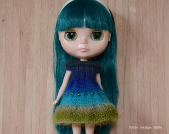 Blythe doll sized Beautiful multi-toned teal and green knitted dress for Blythe, Pullip, Dal. Licca, Barbie or similar dolls