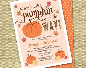Little Pumpkin Fall Baby Shower Invitation Gender Neutral Baby Shower Invitations Fall Leaves Orange Brown Pumpkin Autumn