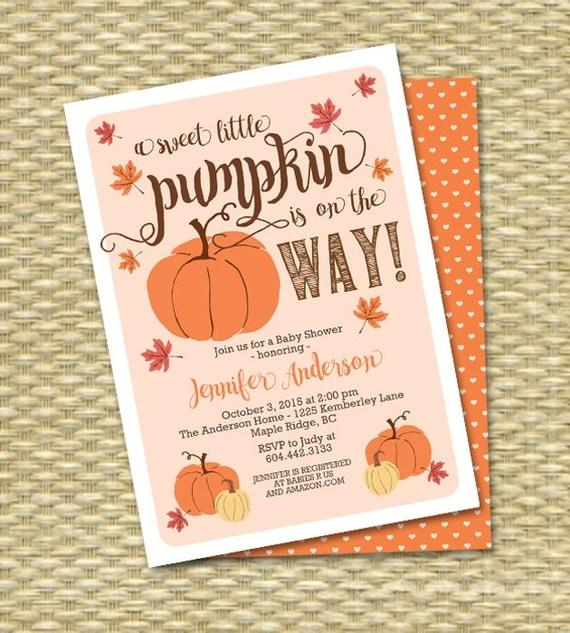 little pumpkin fall baby shower invitation gender neutral baby shower