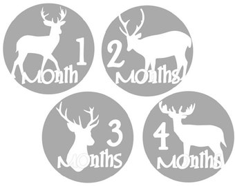Monthly Baby Stickers Deer Hunting Baby Monthly Sticker Month Stickers Milestone Stickers Baby Shower Gift
