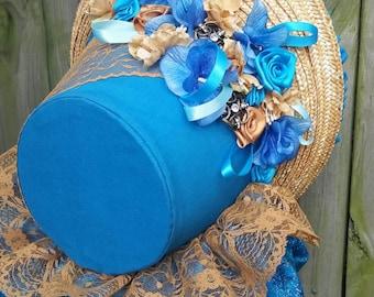 Dark Teal Blue 1860s Civi War Bonnet