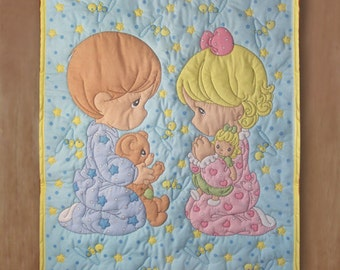 SALE Adorable Precious Moments Praying Boy and Girl Quilt or Wall Hanging
