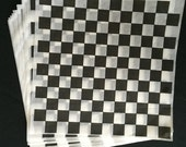 25 -12x12 BLACK Checkerboard Deli Sandwich Food Wraps,  Burger, Hot Dog, Bratwurst Lining Paper