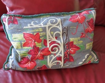 Vintage Barkcloth Pillow - Barkcloth Decorator Pillow - Retro Barkcloth Pillow - Mid Century Barkcloth Pillow - Free Shipping - 8ATT15