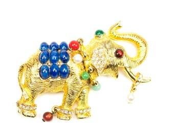 Vintage Jeweled Elephant Brooch Rhinestone Pin  Signed CARLYLE