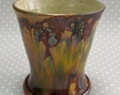 Vintage Welsh Studio Ewenny Pottery Earthenware Brown Vase