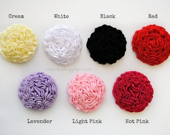 New Fabric Rosette - Tightly Coiled Matte Satin Rosette  - Your Choice: Set of 2, 5 or 10 -  Flowers for DIY projects