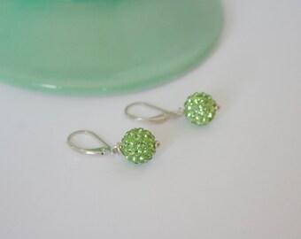 Green Swarovski Crystal Ball Earrings on Sterling Silver Leverbacks
