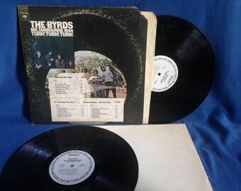 "RARE, Vintage, The Byrds - ""Mr. Tambourine Man, Turn! Turn! Turn!"", Vinyl 2 LP Set Record Album,  Original 1st Press, White Label Promo, WLP"