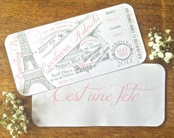 Vintage Paris Boarding Pass Invitation - (Printed Invitations, Digital Invitations, DIY Invitations, Digital Invites)