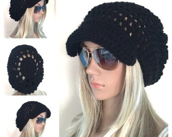 BUY1GET1HALFPrice Womens/teens handmade crochet newsboy oversized slouch beanie beret hat,black irish chunky flower,circle mandala,holiday g