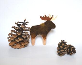 Felted Brooch, Animal Pin, Moose