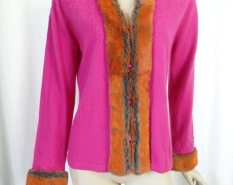 Shanghai Tang hot pink + overdyed rabbit fur trimmed cardigan sweater/ crewelwork with glass beading: size M