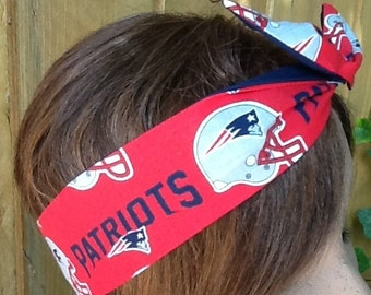 New England Patriots Scarf Wired Rockabilly Hair Scarf Bandanna  Wire Dolly Bow