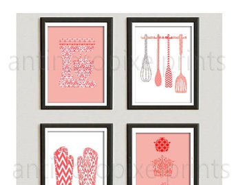 Coral Kitchen Damask Utensil Tools White Art Collection  Mixer Pots Oven Mitts - Set of (4) - 8x10 Prints (Unframed)