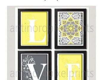 Home Decor Digital Love Light Yellow Greys White Wall Art Modern Inspired -Set of 4 - 8x10 Prints (UNFRAMED) #121204141
