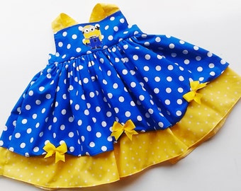 Custom Boutique Minion Inspired Twirl Dress  Sizes 0-6mo, 6-12mo, 12-18mo, 18-24mo, 2t, 3t, 4t, 5/6, 7/8