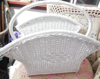 Vintage Country Cottage Shabby Chic Wicker Magazine Holder/19 In Tall 10 In wide./ Magazine/ File Folders/Not Included in Coupon Sale/ :) S