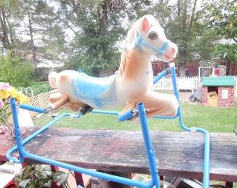 Vintage Wonder Rocking horse Child's Size Pretty Pastel Colors