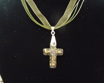 Vintage Cross Pendant on Green String Necklace.  Glass with 18 Karat Gold Plate Clasp