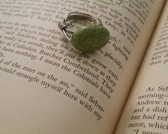 Green Marble wire and bead ring