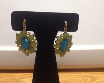 Vintage Goldtone Green, Teal, and Yellow Design Earrings