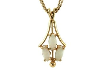 14K Opal Lavaliere Style Pendant and Chain