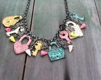 Lock and Key Statement Necklace/Pastel/Cottage Chic/Boho/Victorian/Retro