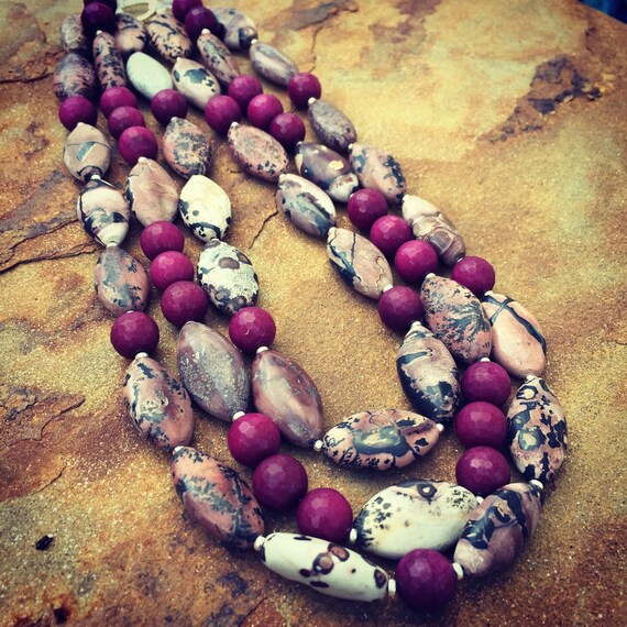 Multistrand Picture Jasper and Agate Statement Necklace and Earring Set
