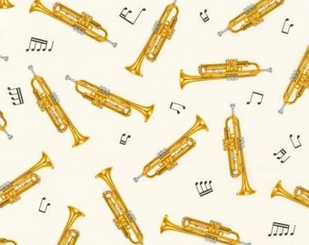 Robert Kaufman fabric TRUMPETS on Cream