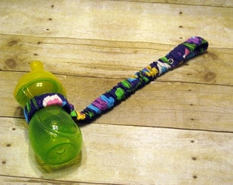 Sippy Cup Strap Purple Flowers - Ready to Ship