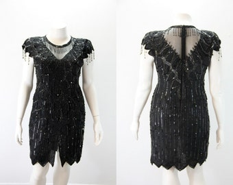 XL - XXL Vintage Dress - 1980s Black Trophy Dress - Art Deco Inspired