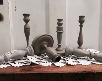 Painted Wood Candle Holders In Neutrals