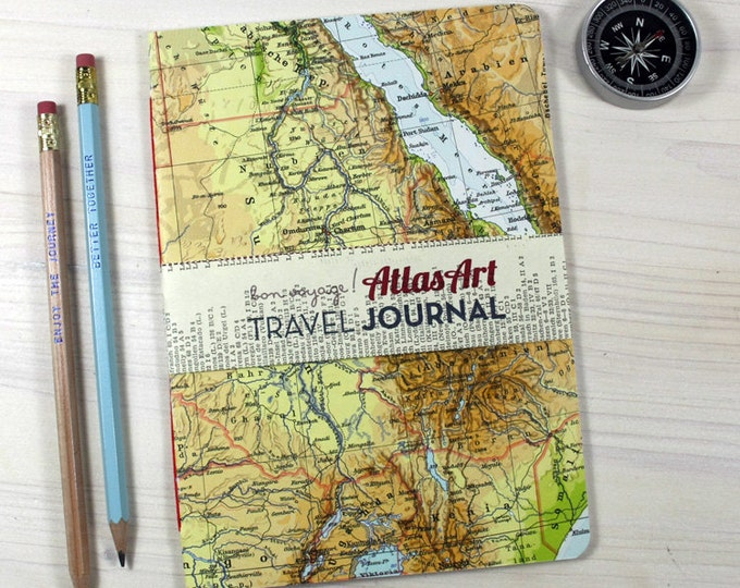 NOTEBOOK Afrika, Arabia, Egypt, 5,7x8,2inch, 32 p. RULED travel journal, diary, notebook, atlas, map, vintage