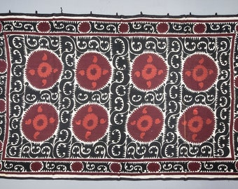 Suzani Vintage Suzani Old Embroidery Suzani Wall Hanging Black Red Uzbek Suzani Table Cover 7.48' x 11.75' FAST SHIPMENT with ups - 07455