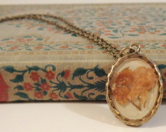 Pressed Flower Jewelry Brass Pendant featuring a Pressed Flower Bunch